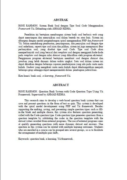 Contoh Abstrak Skripsi Bahasa Indonesia Dan Bahasa Inggris Ide Judul Skripsi Universitas